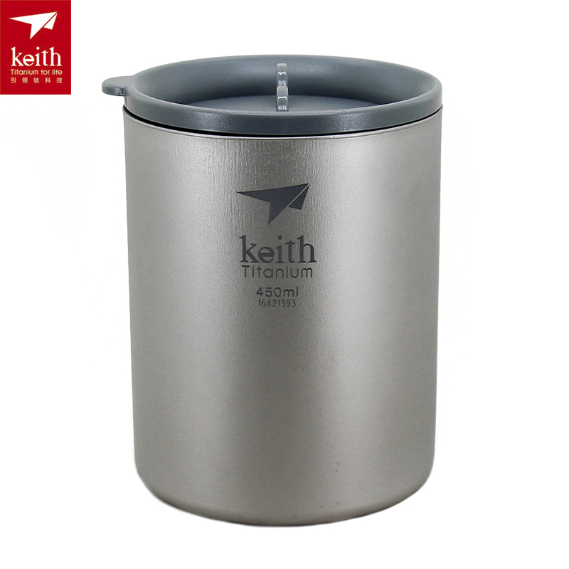 Keith Tableware Titanium Cup Double Walled Camping Picnic Mug 450ml Ti3340