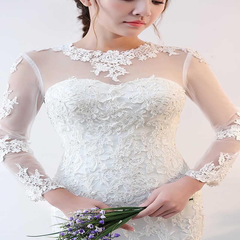 Alilove 2019 חתונה שמלות אלגנטי שמלת מודרני סגנון הכלה סאטן תחרה שמלה בתוספת גודל סקסי לחתוך בת ים פשוט אישה שמלות