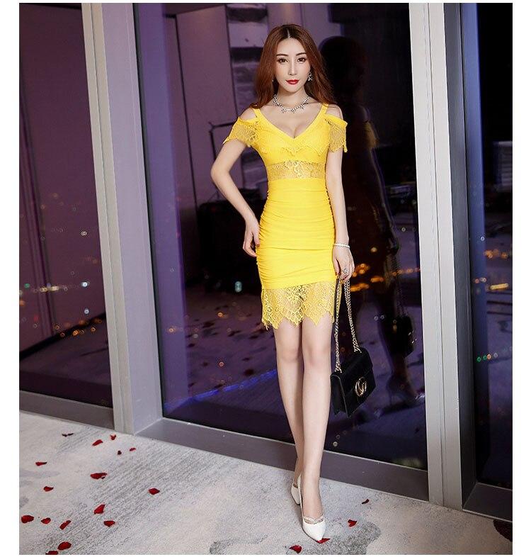 de80b3becd42d Sexy Petite Dress Women High Plunge V Neck Cold Shoulder Floral Lace Wrap  Hip Mini Dress High Quality Clubwear Vestido Renda-in Dresses from Women's  ...