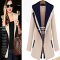 2016 European Autumn Casual hooded Blazers Fashion Slim Solid Thick Jacket Female Wild Stitching Blazer Women Small Suit  S-4XL