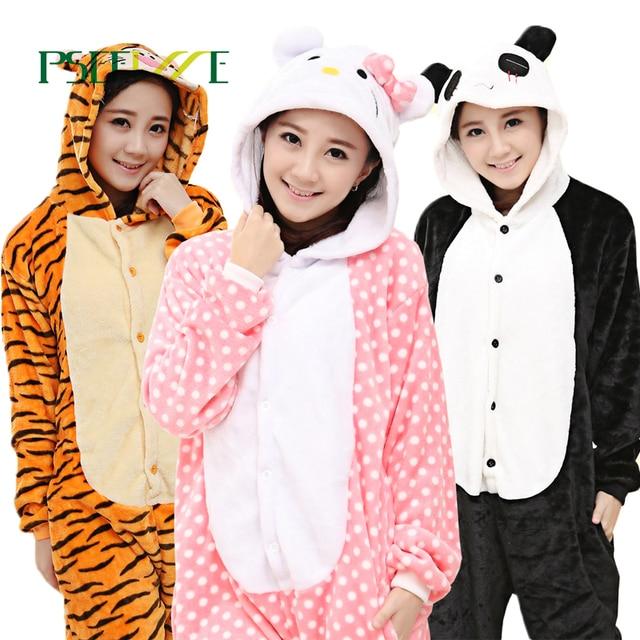 2811534aac Cosplay Costume Flannel Pajamas Adults Anime Animal Onesies Sleepwear  Hoodie Women Men Unicorn Stitch Pikachu Winter Pajamas