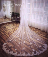 MissRDress Wedding Veil Mariage Bridal Lace Appliqued Velt With Romantic One Layer Long Veils Comb For Wedding Accessories JKm10
