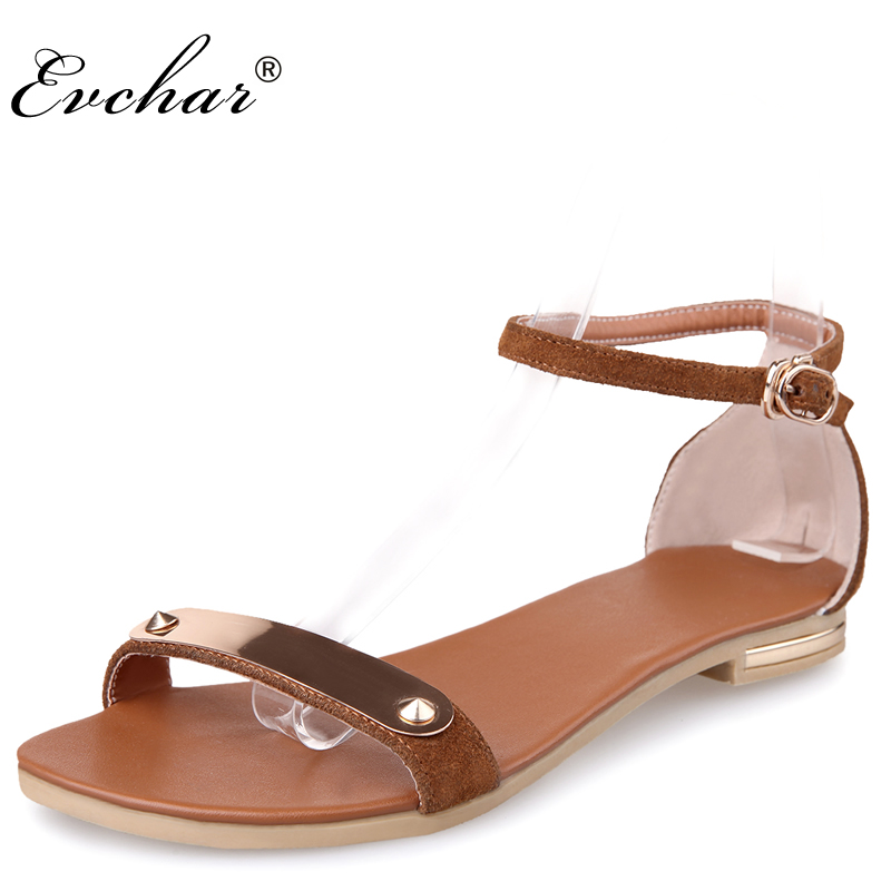 New fashion  summer gladiator shoes woman cow suede ankle strap flats heel sandals brown metal decoration sandalias size 34-39 summer high quality women flats sandals plus size 34 43 new fashion casual ladies sandalias comfort mujer gladiator woman shoes