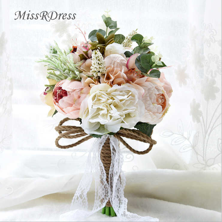 Missrdress Champagne Lace Bridal Bouquets Artificial Wedding