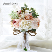 MissRDress Champagne Lace Bridal Bouquets Artificial Wedding Bouquet Rustic Style Wedding Flowers For Wedding Accessories JK201