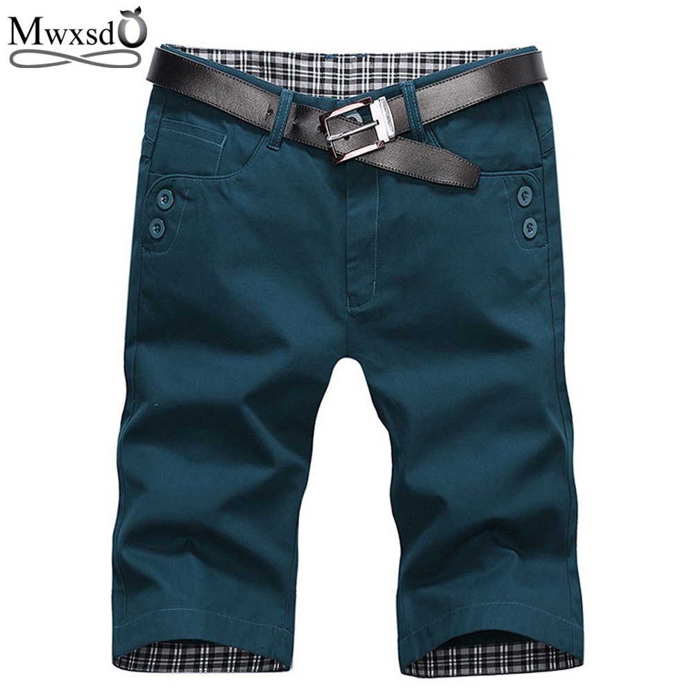 Mwxsd Brand Summer Fashion Mens Shorts Casual Cotton Slim Bermuda Masculina Beach Shorts Joggers Trousers Knee Length Shorts -38