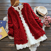 Autumn Winter Womens Sweaters Female Flower Jacquard Red Sweater Jacket Long Sleeve Knitted Women Cardigans Coat U061