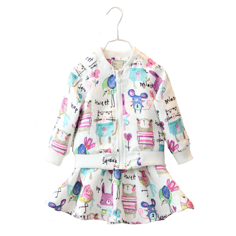 Children Clothing Set Kids Girl Clothes 2016 Girls Set Brand New Autumn Graffiti Suits Toddler 2PCS( Jacket + Skirt ) 2016 autumn and spring new girl fashion cowboy short jacket bust skirt two suits for2 7 years old children clothes set