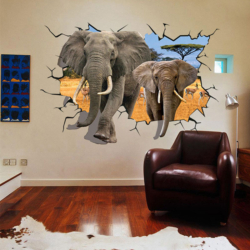 DIY New Art 3D Simulation Elephant House Room Wall Paper Quote Decor  Stickers Decal In Wall Stickers From Home U0026 Garden On Aliexpress.com    Alibaba Group