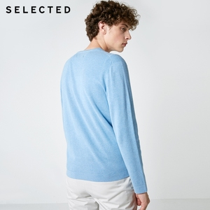 Image 4 - SELECTED New 100% Cotton Business Casual Pullover Knitted Mens Pure Color Sweater Clothes S
