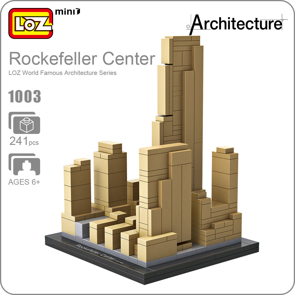 LOZ Blocos Building Blocks Architecture Model Rockefeller Center Toys For Children Forge World City House Buildings Bricks 1003 mr froger loz diamond block easter island world famous architecture diy plastic building bricks educational toys for children