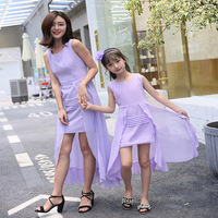 Mother and Daughter Dresses Princess Party Wedding Girls Dress Sleeveless Chiffon Beach Dress Family Matching Clothing