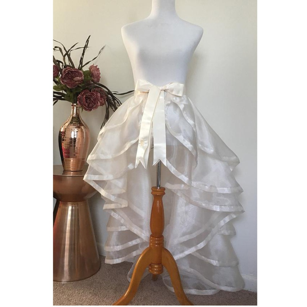 Formal Bridal Organza Detachable Train Ruffles High Low Long Women Wrap Skirts Tiered Cure Bow Female Overlap Skirt 2019