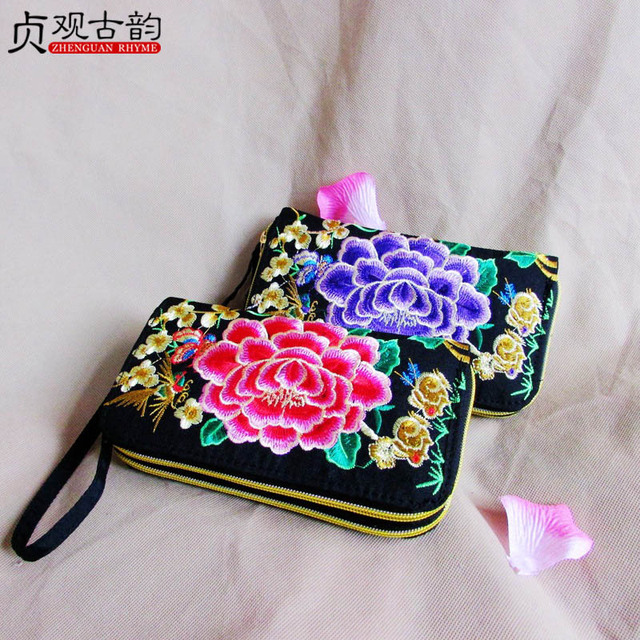 All Handmade Embroidery Women Wallet Vintage Ethnic Bohemian Purse Ladies Gift Coin Pocket Card Package Peony Peacock Hand Bags