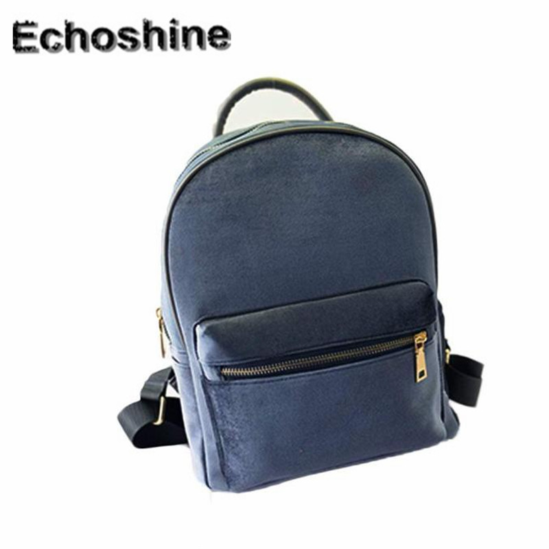 Hot Sale New Fashion Simple Style Women Backpack Gold Velvet Small Cute Rucksack School Backpack Book
