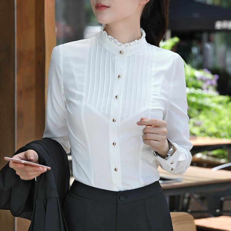 Image 3 - Spring Fashion women clothing long sleeve white blouses formal slim lace stand collar chiffon shirt office ladies plus size topsoffice ladyoffice lady fashionplus size tops -