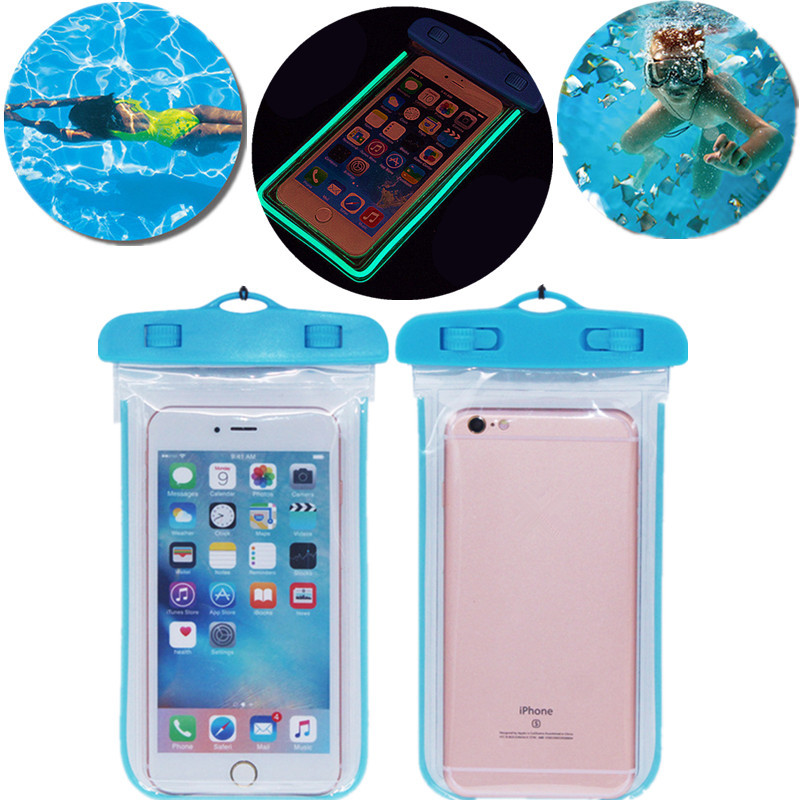 Luminous waterproof phone Pouch with Adjustable Waist Strap for Samsung Galaxy Core Tab 3 7.0 Mega 5.8 Mega 6.3 Win Star S4