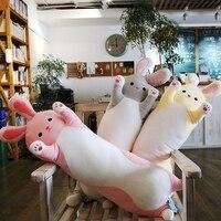 Candice guo cute plush toy lovely cat rabbit dinosaur unicorn soft stuffed doll long body pillow birthday Christmas gift 1pc