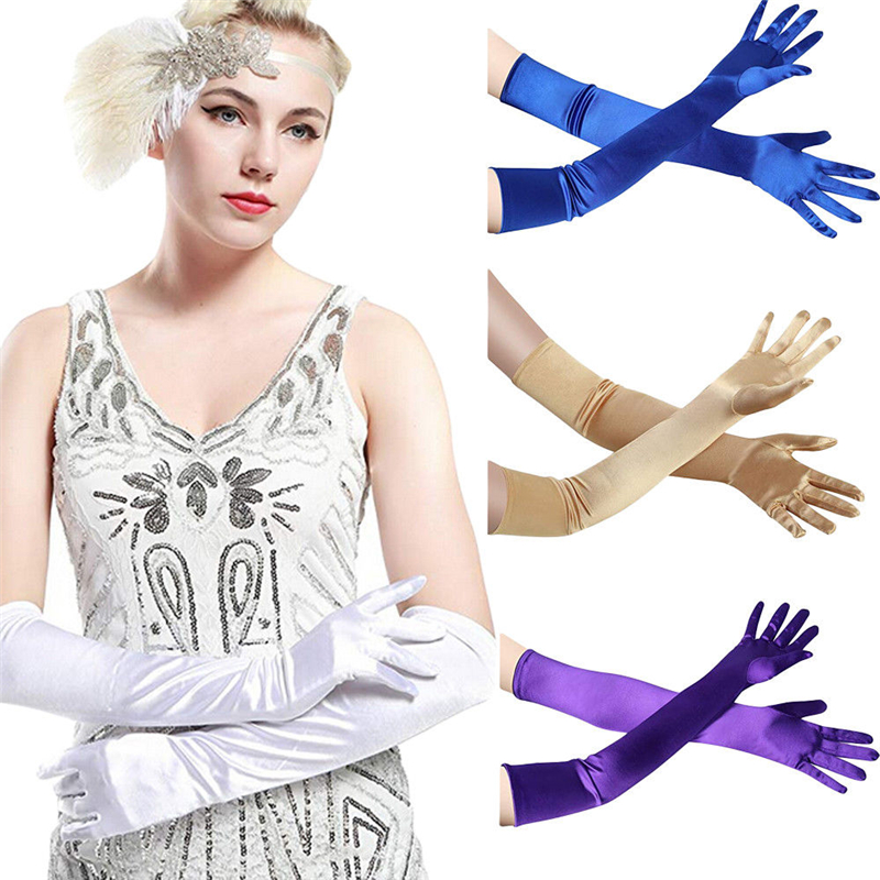 Vogue Women Satin Long Gloves Opera  Ball Evening Party Prom Costume Glove Female Solid