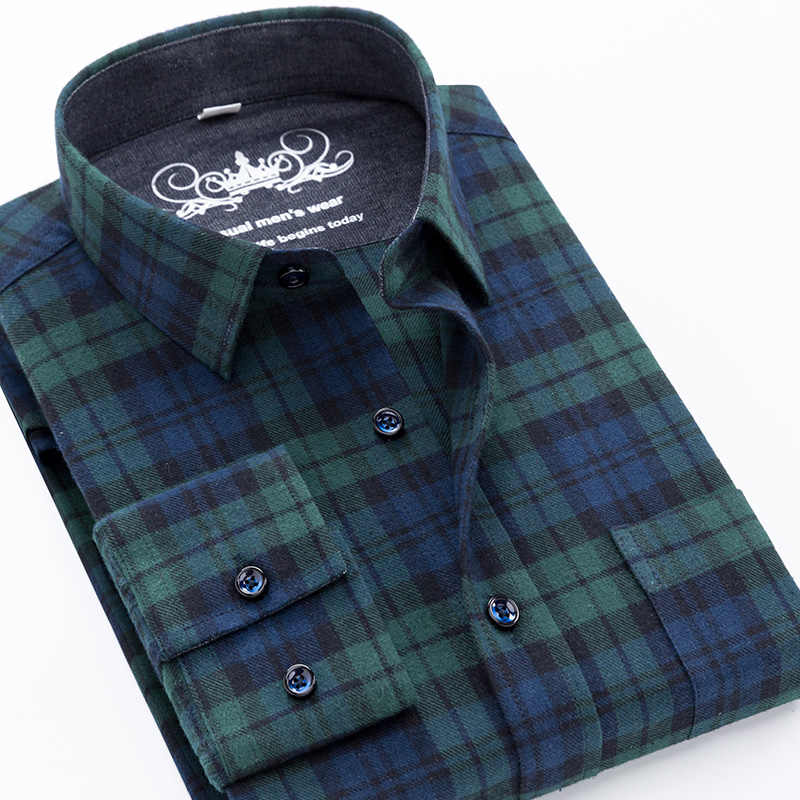 2019  Male Casual Shirt Men long sleeve plaid dress shirt Checked 100% Cotton 5XL Autumn mens  flannel shirts camisa masculina