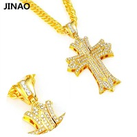 JINAO Hip Hop Rock Crystal Gold Silver Color Plated Cross Pendant Necklace Men Women Personality Trend