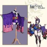 Presell игра FGO Fate/Grand Order Shuten douji костюм для косплея фиолетового цвета кимоно великолепное платье для девочки ассасин юбка для косплея с доспеха