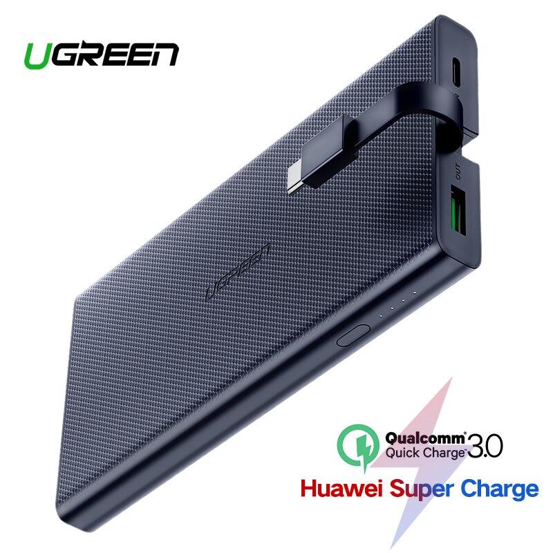 Ugreen 10000 mAh banco de potencia 18 W de carga rápida 3,0 Powerbank batería externa cargador Xiaomi teléfono móvil tipo C Poverbank