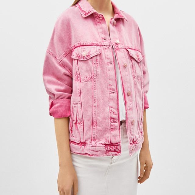 2019 New Jeans Jacket Women Casual BF Style Pockets Long Sleeve Loose denim jacket Fashion Pink Single Breasted Female Jacket