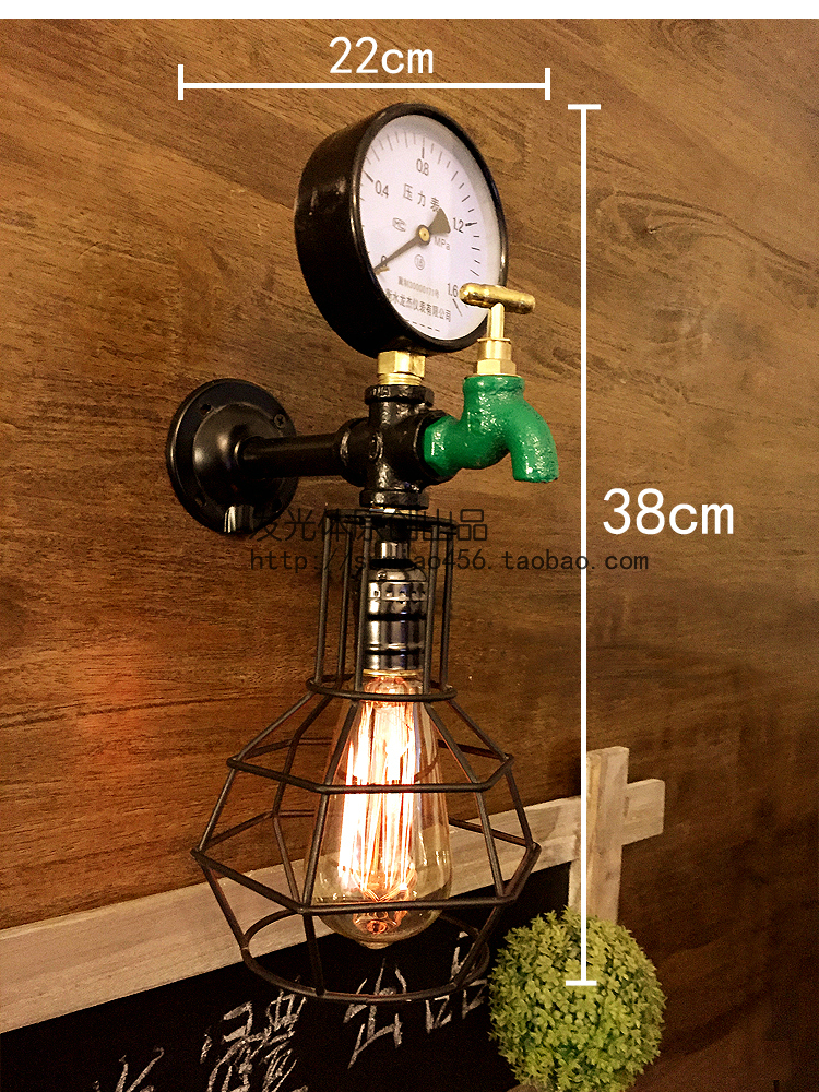 Retro Loft Style Water Pipe Lamp Edison Wall Sconce Antique Vintage Wall Light Fixtures For Home Industrial Lighting Lampara купить