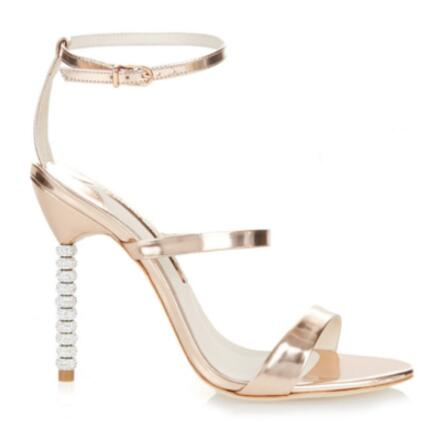 2017 hot selling crystal embellished high heel sandal woman sexy open toe gold metallic leather sandal cutouts gladiator sandal the very best of sandra cd