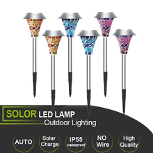 Solar Powered LED Lawn Garden Light Rechargeable Path Glass Mosaic Lights Outdoor Lamps For Decor