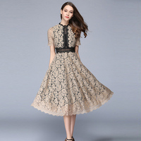 2017 High Quality Lace Sexy Hollow Out Long Dress Summer Women Fashion A Line Elegant Office