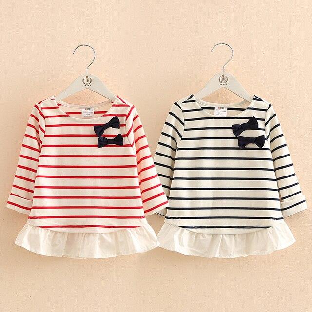 Baby bow spring 2017 new girls T-shirt Korean kids children stripe mosaic coat tx-7661