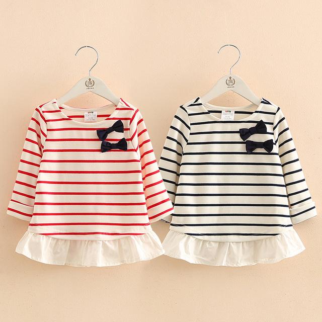 Bebé arco de primavera 2017 nuevas muchachas de la Camiseta niños Coreanos niños raya mosaico abrigo tx-7661