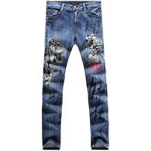 2017 new style straight leg denims lengthy males male printed denim pants cool cotton designer good high quality model trousers  MJB033