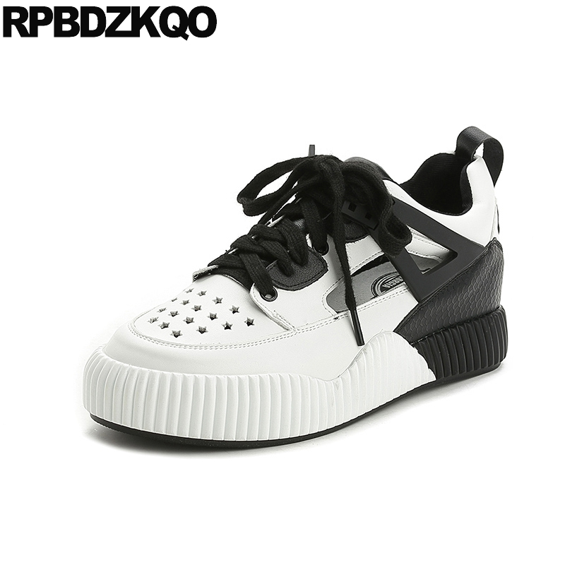 Thick Sole Elevator Women Flats Sneakers Ladies Beautiful Shoes Slip Resistant Platform Round Toe Walking Black And White 2017 цена 2017