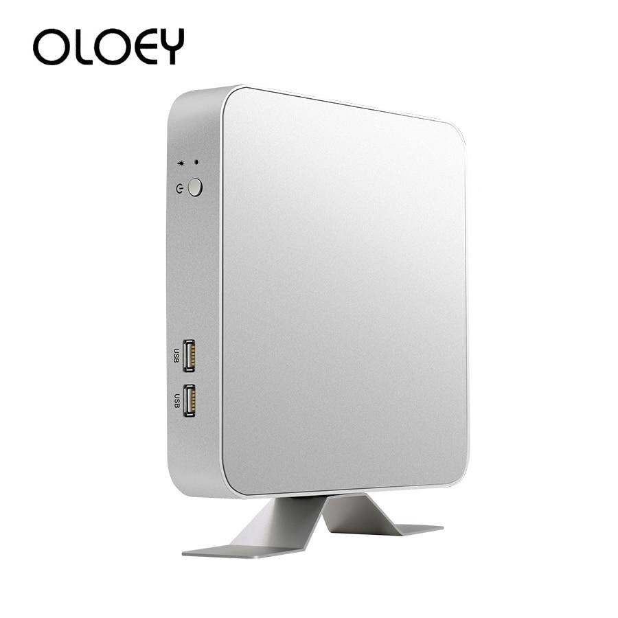 OLOEY Intel Core Mini PC I3 6100U 7100U I5 7200U I7 7500U Windows 10 Desktop PC 4K HDMI VGA 6x USB Wifi Office Computer