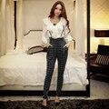 Dabuwawa гарем брюки женские 2016 новый высокой талией плед брюки женщин розовая кукла