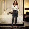 dabuwawa harem pants female 2016 new high waist plaid pants women pink doll
