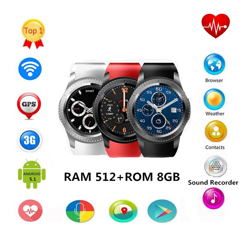 New Smartwatch GW11D 3G 512M+8G MTK6580 Dual Core GPS\WIFI\BT Heart Rate Android 5.1 2.0 MP for IOS&Android phone watch PK KW88