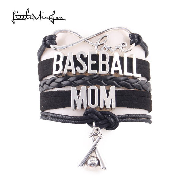 Little Minglou Infinity Love Baseball Mom Bracelet Bat Charm Leather Wrap Bracelets Bangles For