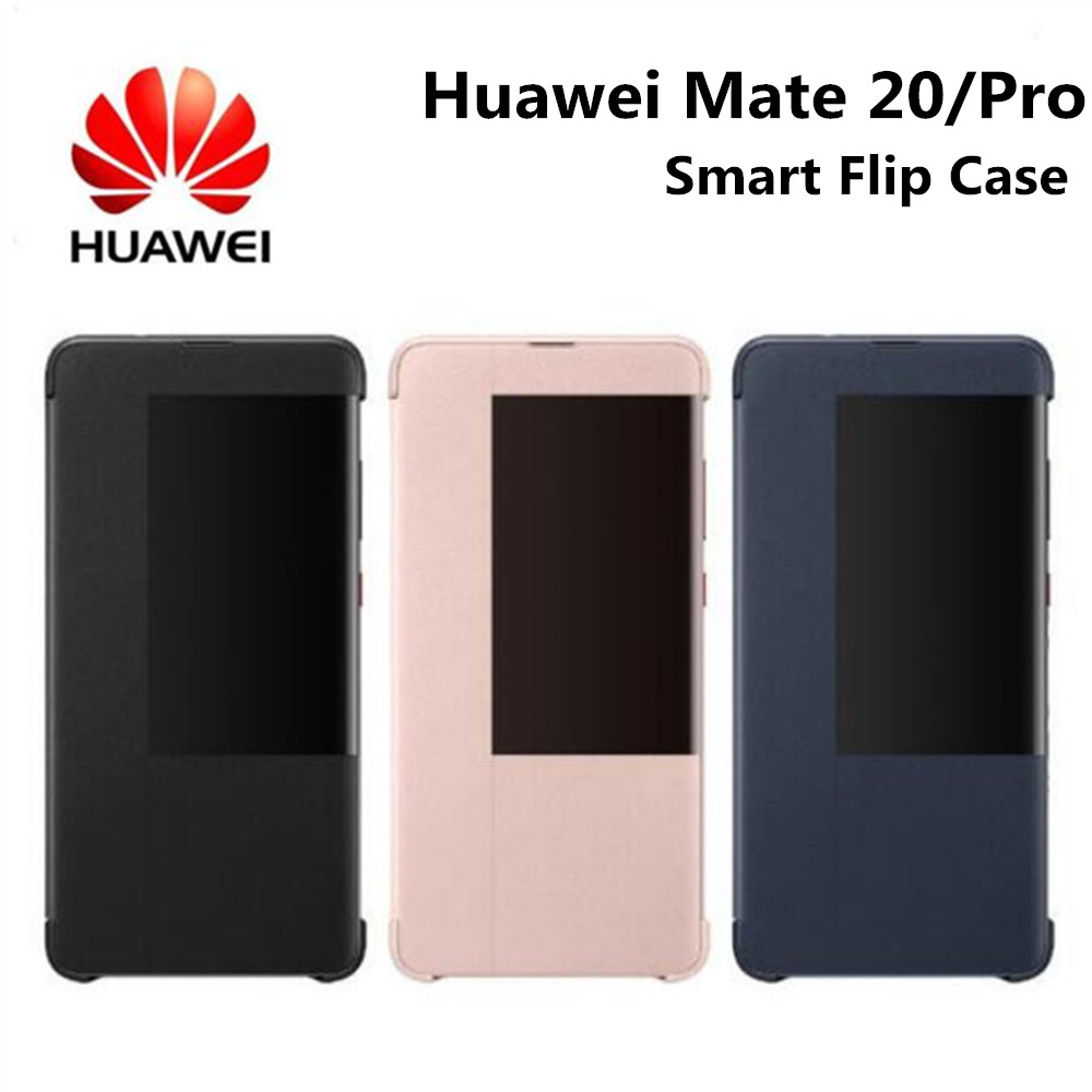 Smart Flip Huawei Case for Mate20 Pro Original Style Mirror View Window Smart Sleep Wake Up