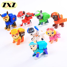 8pcs Canine Patrol Dog Russian Anime Doll Action Figures Car Patrol Puppy Toy Patrulla Canina Juguetes Have a shield