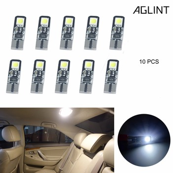 AGLINT 10PCS T10 W5W LED Bulbs 168 194 501 2825 5050 SMD Canbus For Interior Dome Reading Trunk Light Xenon White 6000k 12V