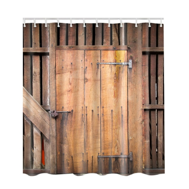 Shower Curtain Rustic Wooden Barn Door Of Farmhouse Oak Countryside Village Rural Board Life Style