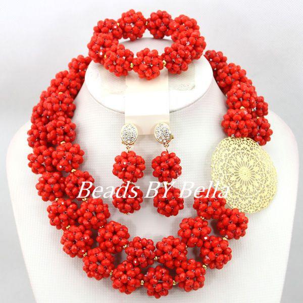 Trendy Handmade Kristall Perlen Kugeln Halskette Afrikanische Hochzeit Braut Schmuck Set Brautschmuck Mode Kostenloser Versand ABC1152