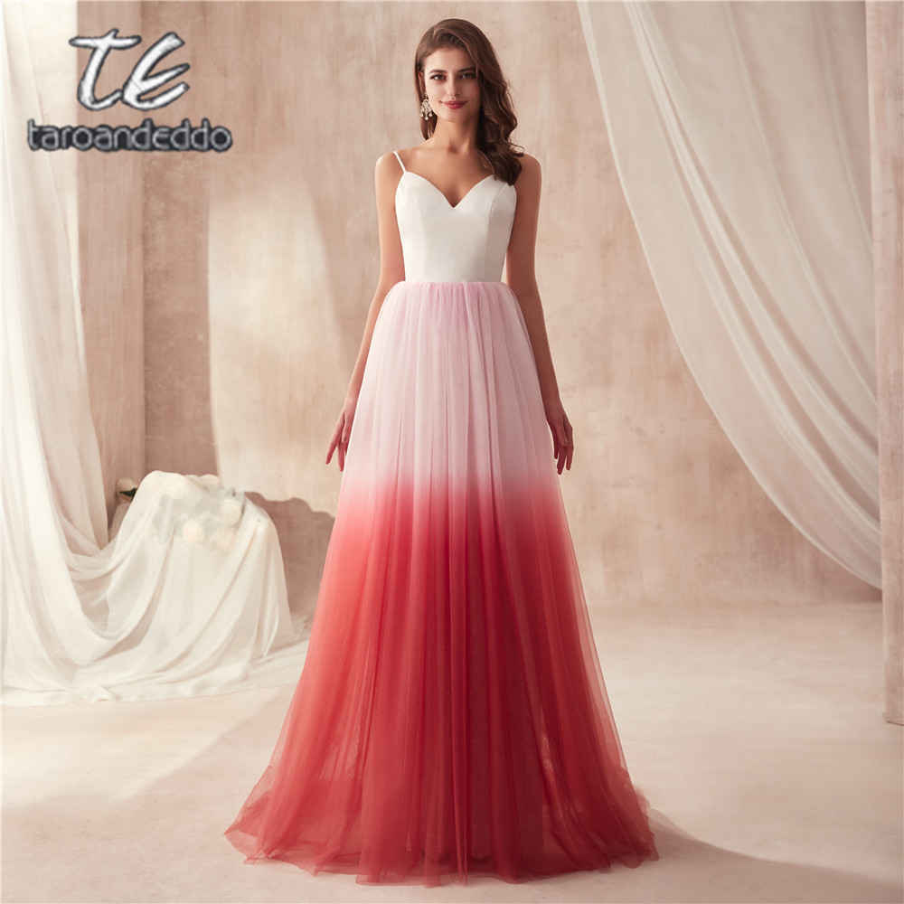 Spaghetti Straps A line Fashion Fade Tulle Multicolor Prom Dress Two Stones Open Back Flowing Tulle