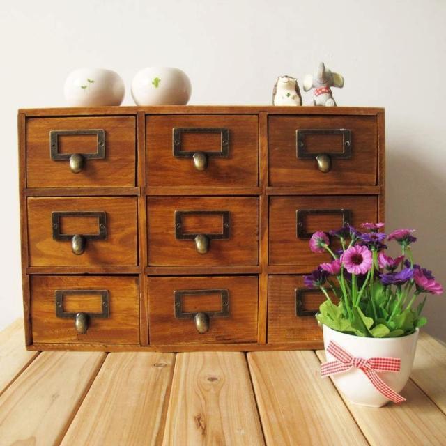 1PC 9 Drawer Storage Box Groceries Vintage Wooden Finishing Cabinet Desktop Wall Organizer Box 39x10x26cm EJL 075