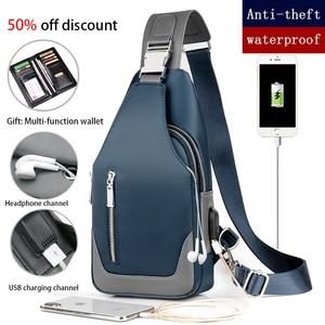 Image 2 - Bolsa masculina tipo carteiro, bolsa de ombro de pano oxford, casual, bolsa mensageira, de carregamento usb, multifuncional