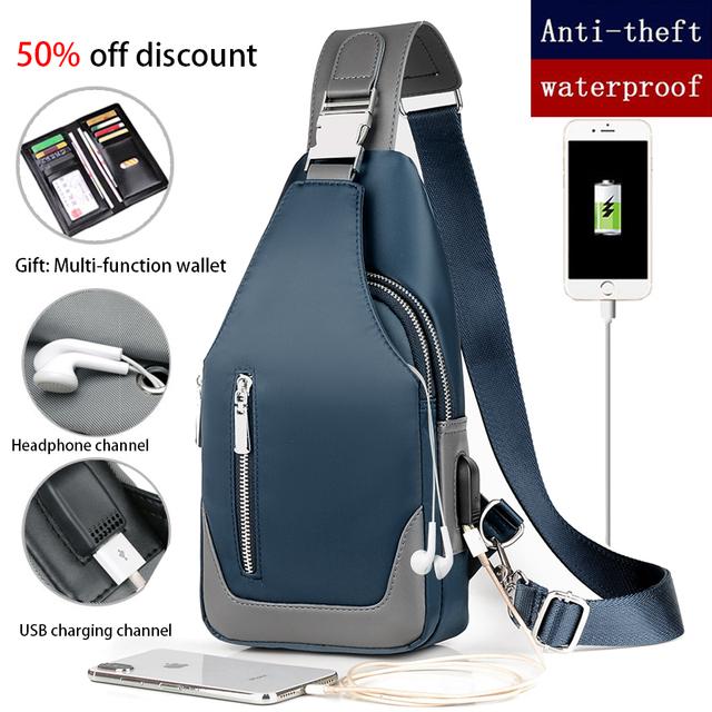 Men's Messenger bag shoulder Oxford cloth Chest Bags Crossbody Casual messenger bags Man USB charging Multifunction Handbag